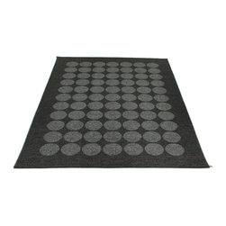 Pappelina - Hugo Metallic Black & Black Rug - This outdoor rug from Pappelina contains a basic geographic pattern. It uses PVC-plastic and polyester-warp to give it ultimate durability and clean-ability. Great for decks, bathrooms, kitchens and kid's rooms.