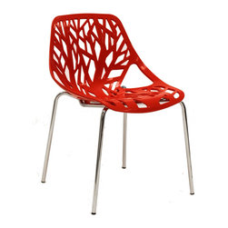 LexMod - Stencil Dining Side Chair in Red - Find your inner catalyst with this activating dining chair. Watch as a tree is carefully depicted in Stencil's telling journey between enigmatic forests and song-filled remembrances. Let sunlight filter through and nurture experiences of enduring light.