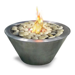 Anywhere Fireplaces - Anywhere Fireplace Oasis, Indoor-Outdoor - Its modern style and unique design makes the Anywhere Fireplace Oasis a favorite for the ambiance of a small fire indoors or outdoors. It can be placed on a table as a center piece or along a walkway ,patio or poolside to provide the interesting and distinctive glow of the real fire. Liven your living space with this portable fireplace. White polished rocks are provided, however you can choose to replace them with other color rocks, marbles, shells, sea glass etc. to suit your mood, a holiday or to change things up a little. This fireplace ONLY USES 13 oz Gel Fuel Cans for Fireplaces. We recommend Real Flame Gel Cans for this model. This fuels are safe for indoor use and put off no harmful toxins into the air. Please be sure to not confuse with other kinds of fuels sold for cars and other non-fireplace applications.
