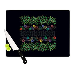 """Kess InHouse - Famenxt """"Dark Jungle Pattern"""" Black Green Cutting Board (11.5"""" x 15.75"""") - These sturdy tempered glass cutting boards will make everything you chop look like a Dutch painting. Perfect the art of cooking with your KESS InHouse unique art cutting board. Go for patterns or painted, either way this non-skid, dishwasher safe cutting board is perfect for preparing any artistic dinner or serving. Cut, chop, serve or frame, all of these unique cutting boards are gorgeous."""