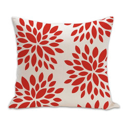 Dahlia Organic Cotton Fabric 18 x 18 Pillow in Orange/Natural