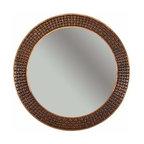 "Premier-Copper-Products - 34"" Round Cu Mirror w/Decorative Braid Design - MFR3434-BR Premier Copper Products 34 Inch Hand Hammered Round Copper Mirror with Decorative Braid Design"