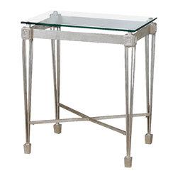 Uttermost - Uttermost Vijai End Table - Vijai End Table by Uttermost Forged Iron Highlighted In Antiqued Silver Leaf With A Clear, Tempered Glass Top Spotlighting The Understated, Regal Design Of A Well-made Table.