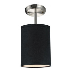"""One Light Brushed Nickel Black Shade Drum Shade Semi-Flush Mount - Add a modern accent to your room with the Albion family.  The mini semi flush is ideal to pop accent light into a small area.  This mini semi flush drum shade is covered in a finely textured black linen fabric with a finished edge trim detail.  This fixture is finished in brushed nickel and comes with one 4 1/2"""" rod for a semi flush mount."""