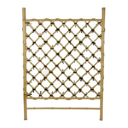 Oriental Furniture - Bamboo Fence Door WD04-1 - This simple hand crafted bamboo accessory is usually used either in indoor garden areas or outdoor areas sheltered from the elements. It's roughly as wide as an interior door, and about three and a half feet tall. It's crafted from high quality, whole bamboo pole and split bamboo. These are beautifully crafted trellises, great for creating a barrier in an indoor area, a covered garden, or to grow vines against a wall under an eaves or over hang. This is beautiful, light colored bleached bamboo, with a cross bamboo lattice.