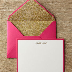 """kate spade new york - kate spade new york Tickled Pink Correspondence Cards - Kate Spade's elegant whimsy adds character to these fun correspondence cards. Card has """"Tickled Pink"""" header in gold script and corresponding pink border. Envelope has glitter interior. Set includes 10 cards and 10 lined envelopes. Approximately 4.5..."""