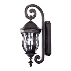 Savoy House - Monticello Wall Mount Lantern - A celebrated Savoy House family finished in Black with Clear Watered glass