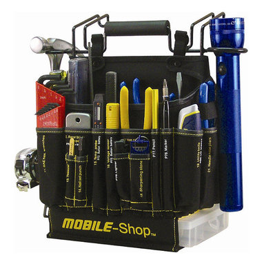 Frontgate - Complete 90-piece Mobile-Shop Tool Bag - Contains 90 professional-quality tools and from top manufacturers including Channellock, Irwin, Mag-Lite, Stanley, Nicholson and others. Each tool has its own numbered and labeled pocket—allowing you do a complete inventory in less than 30 seconds.. 2 large storage areas allow can hold additional tools and parts. Comfortable, yet durable shoulder strap makes it easy to transport. Includes an empty parts box that stores securely in the bottom of the bag. Our Complete 90-piece Mobile-Shop Tool Bag is the ultimate grab-and-go handyman's helper. Packed full of the most commonly used tools, it's an ideal choice for smaller homes, apartments, and everyday jobs around the house.  .  .  .  .  . View complete specifications. Made in USA.