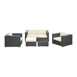 LexMod - Malibu 5 Piece Outdoor Patio Sofa Set in Espresso White - On the border of the Pacific Ocean lies a place of great peace and quietude. Surrounded by silence, Malibu's soft all-weather white fabric cushions and espresso rattan base take you to that place, one relaxing and conducive for interaction with others. Abstract past experiences morph into future discoveries with a warm set that helps expand your horizons.