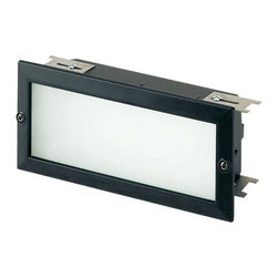 Modern Recessed Step Light with White Glass in Black Finish -