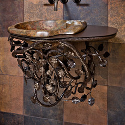 Home & Garden - Quenched provides a solid base for any sink vessel - in this case a stone vessel - while obscuring the pipes and making it appear as if the sink is floating. The front of the base lifts out for plumbing repair, and a towel can be hung on the side.