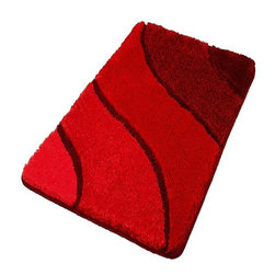 Plush Washable Red Bathroom Rugs, Extra Large - Beautiful oversized sculpted red bath rug with a multi-level pile that is plush and stylish.  Durable .91in pile height that is warm, easy to care for and has a non-slip / non-skid backing.  Perfect for any bathroom.  Machine wash in warm water and fluff dry in a dryer. Made in Germany