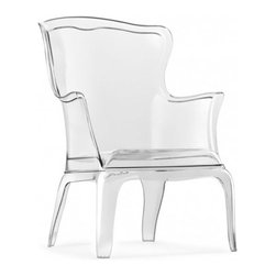 ZUO - Ghost Wing Back Chair - If there was a transparent Versailles floating in an alternate universe, that's where you would find this chair. Made of clear polycarbonate, it's an intriguing hybrid of modern materials and antique silhouette.