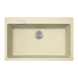 """MR Direct - Large Single Bowl TruGranite Kitchen Sink - The TruGranite 838-Beige large single bowl undermount and topmount sink is made from a granite composite material that is comprised of 80% Quartzite and 20% Acrylic. Silver ions are added to the sink during the manufacturing process that kill 99% of bacteria on contact.  Aside from being anti-bacterial, the 838-Beige is stain and scratch resistant and can resist heat up to 550 degrees. The overall dimensions of the sink are 31 1/8"""" x 19 3/4"""" x 8"""" and a 33"""" minimum cabinet size is required. The sink contains a 3 1/2"""" offset drain with an inlaid chrome overflow. In addition, the 838-Beige comes with 3 punch-out faucet holes for topmount installation and is available in multiple colors. As always, our TruGranite sinks are covered under a limited lifetime warranty for as long as you own the sink."""