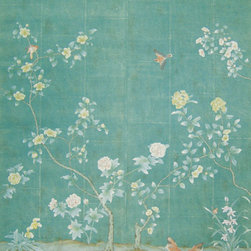 """Fairington Wallpaper - Paul Montgomery Studio's """"Fairington"""" hand-painted wallpaper was used by interior designer Michelle Nussbaumer in the incredible room she created for the Greystone Estate/Veranda show house."""