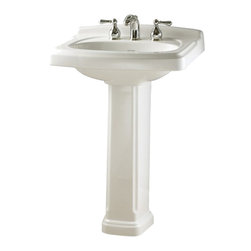 "American Standard - American Standard 0555.801.020 Portsmouth Townsend Pedestal Sink, White - American Standard 0555.801.020 Portsmouth Townsend Pedestal Sink, White. This pedistal sink set is designed with a vitreous china construction, a front overflow, and a faucet ledge with a large deck area. This turn-of-the-century styled sink comes with 8"" centered faucet mounting holes, and measures 24-3/8"" by 19-1/2"", with a 5-3/4"" bowl depth, and stands at 35-7/16"" from the floor to the top of the sink."