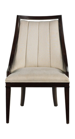 """Stanley Furniture - Continuum Upholstered Wood Frame Chair - Upholstered in Hitch Pearl fabric. Seat: 23 3/16"""" W X 19 9/16"""" D X 19"""" H Made to order in America."""