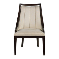 "Stanley Furniture - Continuum Upholstered Wood Frame Chair - Upholstered in Hitch Pearl fabric. Seat: 23 3/16"" W X 19 9/16"" D X 19"" H Made to order in America."