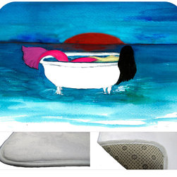"""usa - Bath Tub Mermaid Bath Mat,  20"""" X 15"""" - Bath mats from my original art and designs. Super soft plush fabric with a non skid backing. Eco friendly water base dyes that will not fade or alter the texture of the fabric. Washable 100 % polyester and mold resistant. Great for the bath room or anywhere in the home. At 1/2 inch thick our mats are softer and more plush than the typical comfort mats. Your toes will love you."""