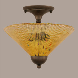 Toltec Lighting - Bronze 12-Inch Two Light Semi-Flush with Gold Champagne Crystal Glass - - Rated: Interior  - Is This A Chain Hung Fixture? : NO  - Bulb Included: No  - UL Application: Ceiling  - Assembly Required: Yes Toltec Lighting - 120-BRZ-774