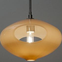 Wide Open Pendant by Jamie Harris - The carved-out aperture of these glass pendants allow light to spill through the piece.