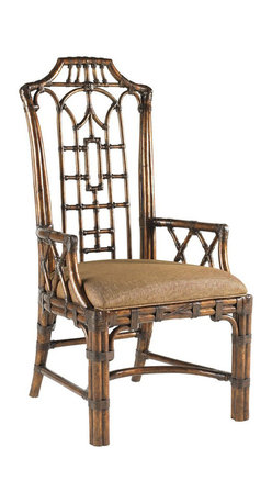 Lexington - Lexington Royal Kahala Pacific Rim Arm Chair Set of 2 538-881-01 - Pan-Asian influenced bent rattan, with leather binding, in a golden tortoise shell finish. The upholstered seat is Coral Seas, a ginger color woven.
