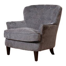 Great Deal Furniture - Melford Royal Vintage Design Upholstered Arm Chair, Grey Fabric - The Melford chair offers all the elegance of the classic club chair. It has a wide padded seat, and a diamond-tufted backrest. Studded accents that line the perimeter of the chair and its wide stance provides plenty of room for a comfortable seating experience. This chair can be placed in any room or office space