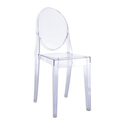 Hampton Modern - Philippe Starck Style Victoria Ghost Chair - This popular style of transparent acrylic chair makes for a modern, delicate look.  Surprisingly sturdy, and easy to clean, it is a great choice for event halls, yogurt shops, or for dining rooms. May be used for indoor or outdoor use. Stackable.
