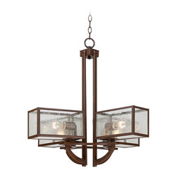 """Franklin Iron Works - Arts and Crafts - Mission Four Square 4-Light Seedy Glass Bronze Chandelier - Clean geometric lines give this chandelier a sleek modern look while recalling the comfort of rustic styles. Finished in a handsome bronze with nuanced seedy glass. The four light design will make your home glow bright and warm. Bronze finish. Seedy glass. Takes four 60 watt bulbs (not included). 27"""" wide. 26"""" high. Includes 6 feet of chain and 12 feet of wire. Canopy is 5 1/8"""" wide. Hang weight is 18 lbs.  Bronze finish.  Seedy glass.  Takes four 60 watt bulbs (not included).  27"""" wide.  26"""" high.  Includes 6 feet of chain and 12 feet of wire.   Canopy is 5 1/8"""" wide.   Hang weight is 18 lbs."""