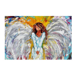 DiaNoche Designs - Area Rug by Karen Tarlton - Angel Watching Over Me - Finish off your bedroom or living space with a woven Area Rug with Chevron pattern  from DiaNoche Designs. The last true accent in your home decor that really ties the room together. Maybe its a subtle rug for your entry way, or a conversation piece in your living area, your floor art will continue to dazzle for many years. 1/4 thick. Each rug is machine loomed, washed and pre-shrunk, printed, then hemmed on the edges.   Spot treat with warm water or professionally clean. Dye Sublimation printing adheres the ink to the material for long life and durability