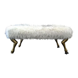 Pre-owned Equestrian Faux Fur Ottoman - Add some luxury to the foot of your bed, dining room or entryway with this equestrian faux fur ottoman. This amazing piece sits atop gold legs and is sure to add a pop of luxury to any room. Better yet, it's brand new as it was only previously used on the set of a T.V. show.