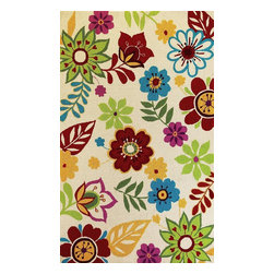 """Kas - Country & Floral Sonesta 5'x7'6"""" Rectangle Ivory Area Rug - The Sonesta area rug Collection offers an affordable assortment of Country & Floral stylings. Sonesta features a blend of natural Ivory color. Hand Hooked of 100% Polyester the Sonesta Collection is an intriguing compliment to any decor."""