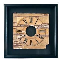 Salvatecture Studio - Framed Vintage Wood Clock Face 1 - It's high time for a design accessory that's unlike any other. A portion of a vintage clock has been framed and mounted inside a jet black wooden box, drawing attention to the weathered piece of machinery contained within. Classic appeal has never looked so contemporary.