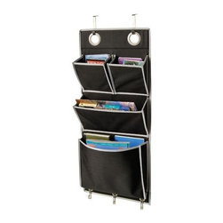 Richards Homewares - Over The Door Magazine Organizer - Keep your magazines, school work, books and other accessories neatly stored and out of the way with this attractive Black Magazine organizer. Made of heavy weight denier polyester, this durable magazine storage rack will keep your dorm room, office and home organized for many years to come.