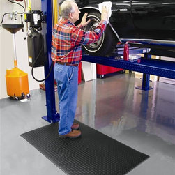 Notrax - Diamond-Cushion Floor Mat in Classic Black (3' x 4') - Choose Size: 3' x 4'. Exclusive Dyna-shield protective top layer for added durability. Designed as an anti-fatigue mat. Great for home garages and workshops. Sponge provides fatigue relief. Four sides are beveled to reduce tripping hazards. Offers a sleek industrial look and added traction. Made from PVC vinyl sponge. 2'x 3' Size: 36 in. L x 24 in. W x 0.5 in. H. 2'x 6' Size: 72 in. L x 24 in. W x 0.5 in. H. 3'x 4' Size: 48 in. L x 36 in. W x 0.5 in. H. 3'x 5' Size: 60 in. L x 36 in. W x 0.5 in. H. 3'x 6' Size: 72 in. L x 36 in. W x 0.5 in. H