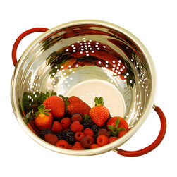 Cookpro - Cookpro 3QT. Stainless Steel Colander - This Stainless Steel colander is an essential piece in any kitchen and provides for a variety of uses from draining pasta to rinsing fruits and vegetables.  Includes a mirror polished interior and satin finished exterior. The handles and feet are coated with vibrant red silicone to provide secure grip as well as a slip resistant surface on the counter or sink.