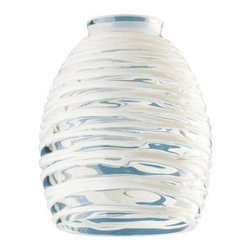 Westinghouse - Westinghouse 5-3/4 in. x 4-5/8 in. Clear with White Rope Accessory Shade 8131400 - Shop for Lighting & Fans at The Home Depot. This Westinghouse 5-3/4 in. x 4-5/8 in. Clear with White Rope Accessory Shade possesses an artistic aesthetic that instantly beautifies your space. White ropes of glass tightly spiral the clear glass background for layers of texture. Westinghouse's customizable products inspire creativity for quick and easy home upgrades. Choose your shade, select your fixture and finish, and enjoy your new custom lighting. Because it features a standard 2-1/4 in. fitter, this shade will work with a variety of lighting configurations--from mini-pendants to wall fixtures. Install this shade in your bathroom, kitchen, or hallway. Wherever you place it, you will enjoy the shade's versatile design and artistic style. The shade is 5-3/4 in. high x 4-5/8 in. in diameter. The handcrafted nature of glassware produces minor differences in design and sizing. Subtle variations will occur from piece to piece, adding to each one's unique qualities. Measurements may vary slightly.