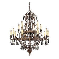 Savoy House - Marseille 15-Light Chandelier - Luxe chic design rains down upon this elegant chandelier, with crystal tear drops and bronze-stylized leaves. Go all out with this gorgeous piece, reflecting light and beauty with the flick of a switch.