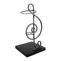 Metal Treble Clef Single Wine Bottle Display - Good music and a good bottle of wine complement one another, and this single bottle holder is sure to complement most any decor. Made of metal, it measures 11 3/4 inches tall and has a 6 inch X 6 inch black wooden base. The bottom of the base has foam pads to prevent it from scratching delicate surfaces, so you can display it anywhere in your home. It makes a great gift for a friend, and is sure to be admired.