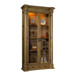 French Heritage - Vignoble Vitrine, Driftwood Cream with Smokehouse Finish - Take those curios out of hiding! Guests will pause to admire your treasured items when you display them in this handsome, glass-door cabinet, framed with mango wood.