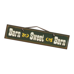 Sleepy's Signs - Barn Sweet Barn Rustic Western Wood Sign - Rustic  Wood  Sign  -  Customizable          Give  your  barn  or  outbuilding  its  own  special  sign  with  this  rustic  western  styled  wood  sign  that's  made  in  the  USA.  Handcrafted  from  distressed  wood  and  finished  in  a  vintage  forest  green  with  white  lettering  and  yellow  design  details,  this  rustic  western  sign  offers  a  special  rancher  sentiment.  Perfect  for  ranch,  mountain  lodge,  or  hacienca.  Customize  at  no  extra  cost  upon  request.                  Rustic  Wood  Sign              24  inches  wide  x  5.5  inches  high              Rope  Hanger              Made  in  USA              Allow  4-6  weeks  for  shipping