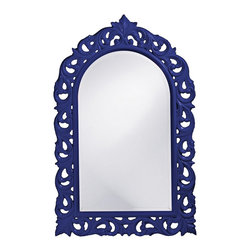 "Howard Elliott - Traditional Howard Elliott Orleans 30"" X 47"" Royal Blue Wall Mirror - Arch wall mirror. Royal blue finish. Resin construction. Scroll design. Glossy finish. Mirror only is 21"" wide 35"" high. Hang weight is 27 pounds. Made to order. 30"" wide. 47"" high. 1"" deep.     Arch wall mirror.  Royal blue finish.  Resin construction.  Scroll design.  Glossy finish.  Mirror only is 21"" wide 35"" high.  Hang weight is 27 pounds.  Made to order.  30"" wide.  47"" high.  1"" deep."