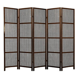 Oriental Furniture - 6 ft. Tall Miyagi Shoji Screen - 5 Panel - Walnut - With fine open lattice work and no rice paper shade, this Miyagi room divider is designed for defining space and creating interest rather than providing privacy. It is slightly heavier and more substantial than some rice paper shoji screens.