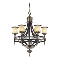 "Elk Lighting - Georgian Court 6-Light Chandelier in Antique Bronze and Dark Umber - During the mid-eighteenth century, the georgian style became immensely popular, not only in england, but also in colonial america. The ""colonial"" home was influenced by the georgian style, characterized by a sense of proportion, balance, and carefully thought out details. Furniture and objects of the time were of a larger scale, yet with a lighter feeling than earlier periods. This lighter feeling transmitted grace, elegance, and prominence, and allowed details to become more of the focal point, rather than the principle elements of the structure. The georgian court collection reflects those earlier influences with a well-balanced proportions, attractive brass finished details, and amber glass with a marbleized finish and decorative ring."