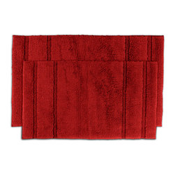 None - Tranquility Cotton Sunset Red 2-piece Bath Rug Set - Create a tranquil setting in the bath or shower with the Tranquil Cotton collection of bath runners and rugs composed of a short,soft loop pile made of 100-percent cotton. Two red machine washable bath rugs are included in this set.