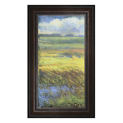 """Posters 2 Prints LLC - Shimmering Marsh I - Shimmering Marsh I by H. Thomas. Canvas Giclee framed with a beautiful 2.125"""" Distressed Brown frame. Our Canvas Giclee product is made using a Giclee printing process that uses up to 12 different color inks that spray onto high quality canvas paper to give a product that looks most like an original painting."""