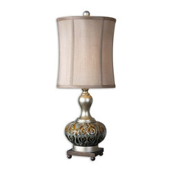 """Silver Nest - Nealie Table Lamp - 28""""h - Textured ceramic finished in rustic brown, smoke blue and black glazes accented with antiqued silver details and a dark bronze foot. The round modified drum shade is a silken champagne linen fabric with natural slubbing."""