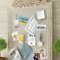 Allier Framed Linen Board - Our fabulous French inspired take on the indispensable corkboard! Covered in natural linen, our chic bulletin board is framed in stunning hand-carved mango wood frame. Use it as a gallery for photos, concert tickets and to-do lists. Antique ivory finish. Available in two sizes.