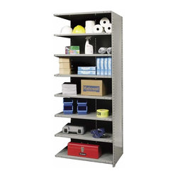 Hallowell - 87 in. High 8-Tier Hi-Tech Heavy-Duty Closed Shelving - Adder (48 in. W x 12 in. - Depth: 48 in. W x 12 in. D x 87 in. H. Add additional storage space to your existing shelves with this heavy duty adder unit, constructed of cold rolled steel in gray finish. Enhanced by a closed back and side for strength and stability, the unit features eight shelves in your choice of depth so you can select the size that best suits your needs. Includes 1 beaded front post, 2 angle back posts, 1 back panel and 1 side panel. Great addition to Hi-Tech heavy-duty closed shelving starter unit. 8 Adjustable shelves. Fabricated from cold rolled steel. Welds are spaced 3 in. on center to provide maximum strength. Sides are triple flanged to form a channel. All 4 corners are lapped and resistance welded to provide a rigid corner and add extra strength to the shelf. Tubular front edge is designed to protect against impact loads. 48 in. W x 12 in. D x 87 in. H. 48 in. W x 18 in. D x 87 in. H. 48 in. W x 24 in. D x 87 in. H. Assembly required. 1-Year warranty