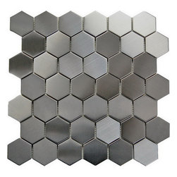 "Oddysey 2"" Hexagon 12X12 Interlocking Mosaic - Stainless Steel 2"" Hexagon Mosaic This Hexagon Brished stainless steel results in a stunning modern effect .This tile is ideal for steel back splashes, accent walls, fireplaces and more. The tiles in this sheet are mounted on a nylon mesh which allows for an easy installation."